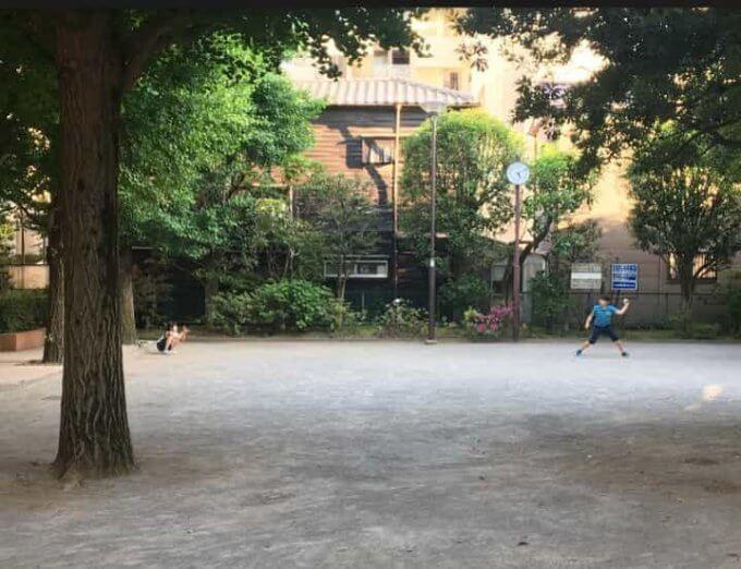公園でキャッチボール