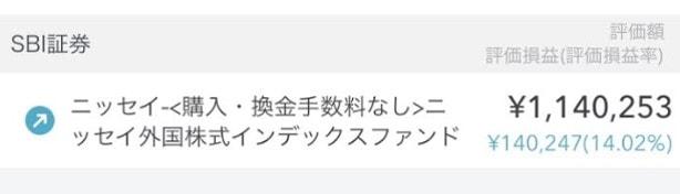 ニッセイ外国株式インデックスファンドを100万円分積立した運用結果